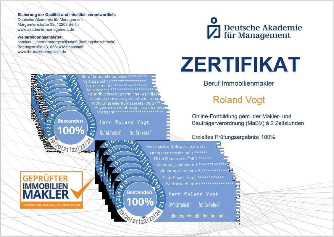 Auszug der Zertifikate (20 Fortbildungsstunden)
